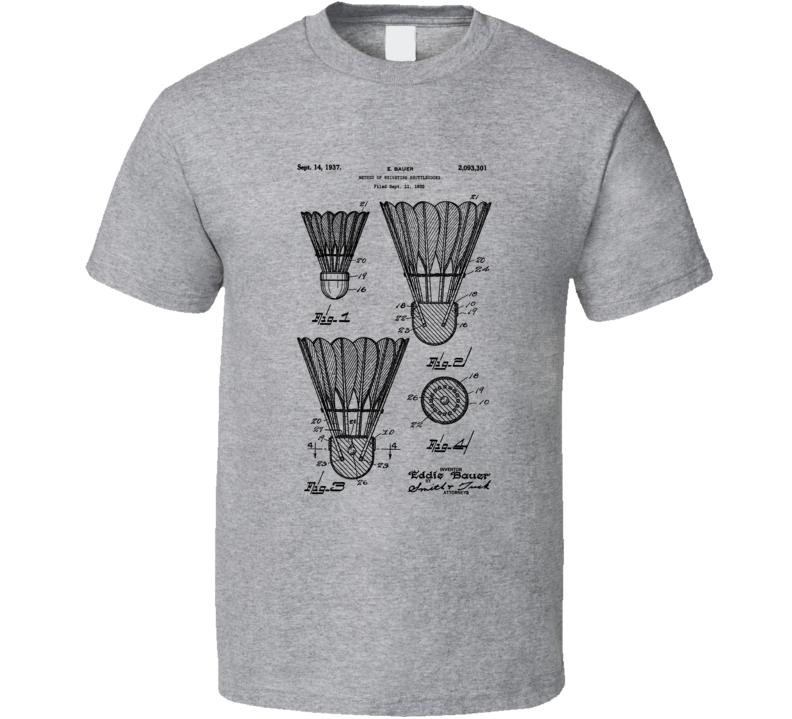 Badminton Birdie Shuttlecock Patent Cool Hobby T Shirt