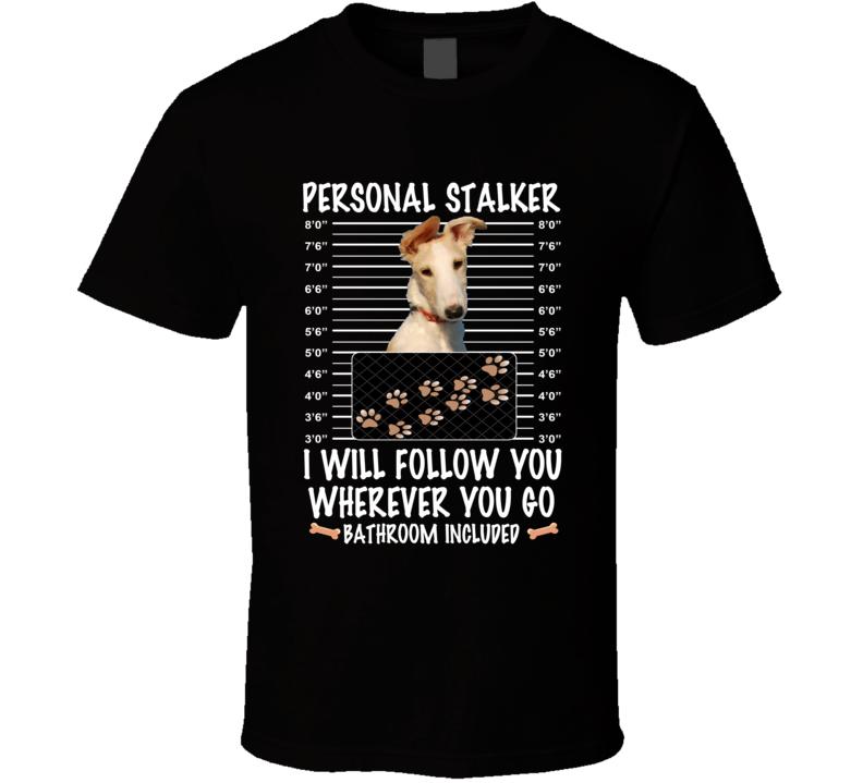 Borzoi Personal Stalker I Will Follow You Funny Mugshot Dog Lovers T Shirt