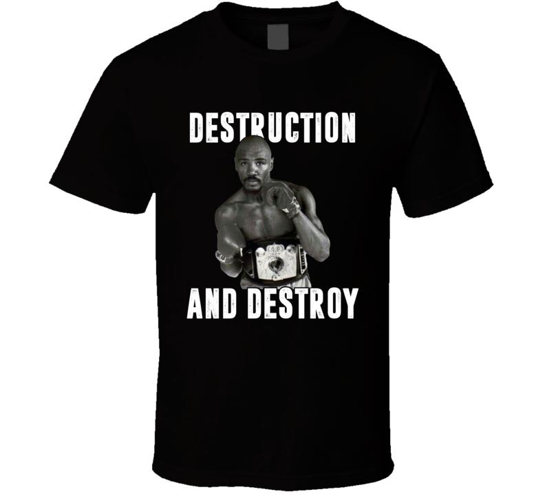 Destruction And Destroy Marvin Hagler Retro Boxer Fan T Shirt