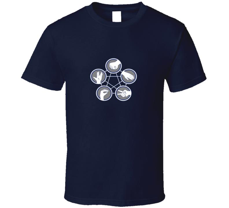 Big Bang Theory - Rock Paper Scissors Lizard Spock - navy T Shirt