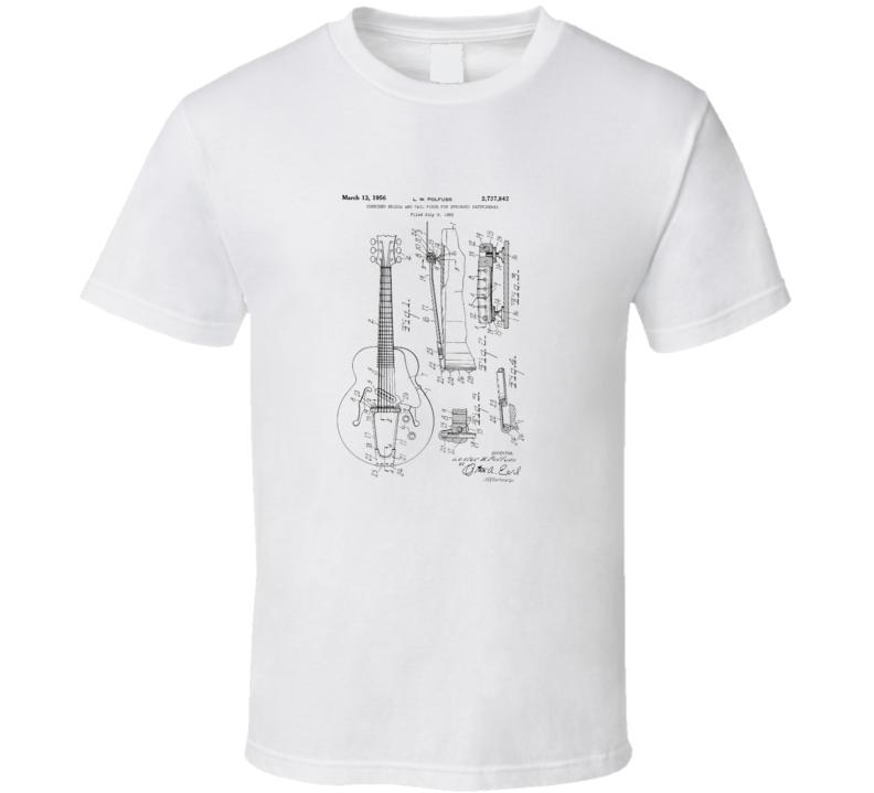 Les Paul Gibson Guitar Patent Drawing Blueprint T Shirt