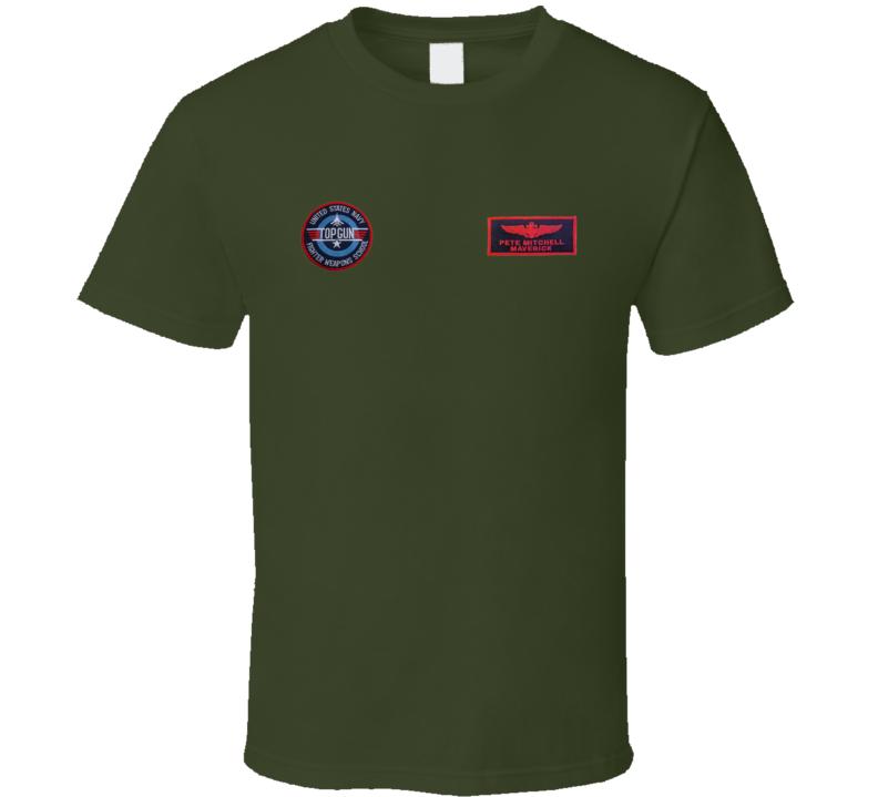 Top Gun Pete Mitchell Fightertown USA Maverick Badge T Shirt