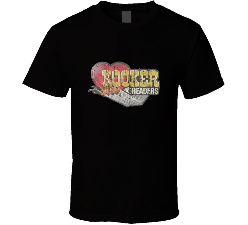 Hooker Headers Vintage Speed Shop Garage Distressed T Shirt