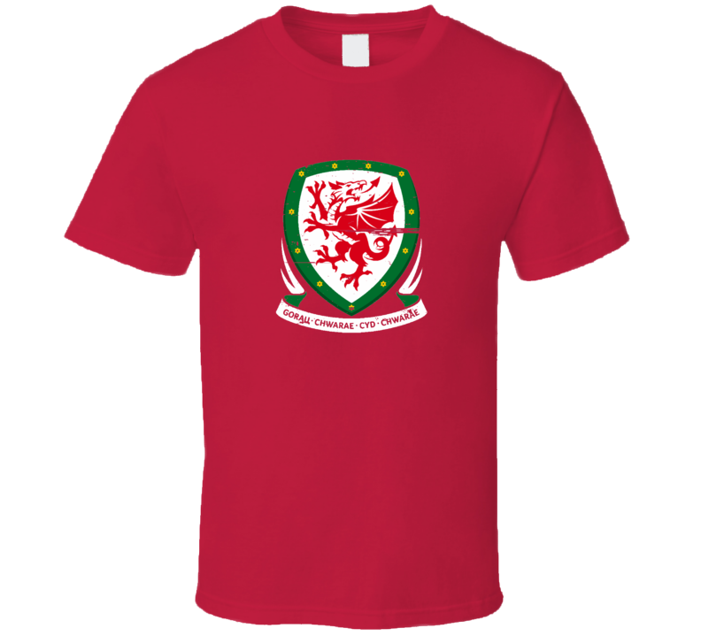 Wales Football Logo Red Grunge T Shirt