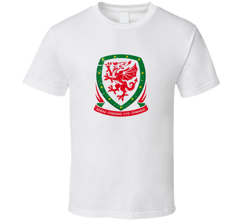 Wales National Football Logo White Grunge T Shirt