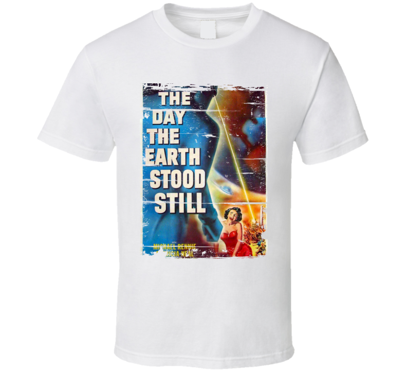 The Day the Earth Stood Still  Classic Movie Poster Aged Look T Shirt