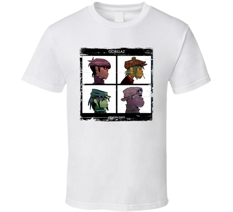 Gorillaz Demon Days Album Cover Distressed Image T Shirt