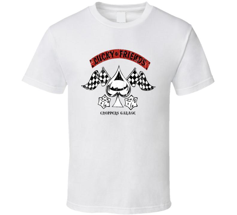 Lucky Friends Chopper shop Worn Image T Shirt