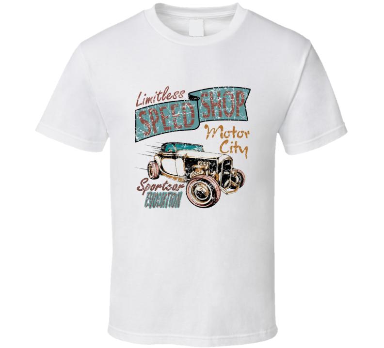Limitless Speed Shop Hot Rod Vintage Worn Image T Shirt