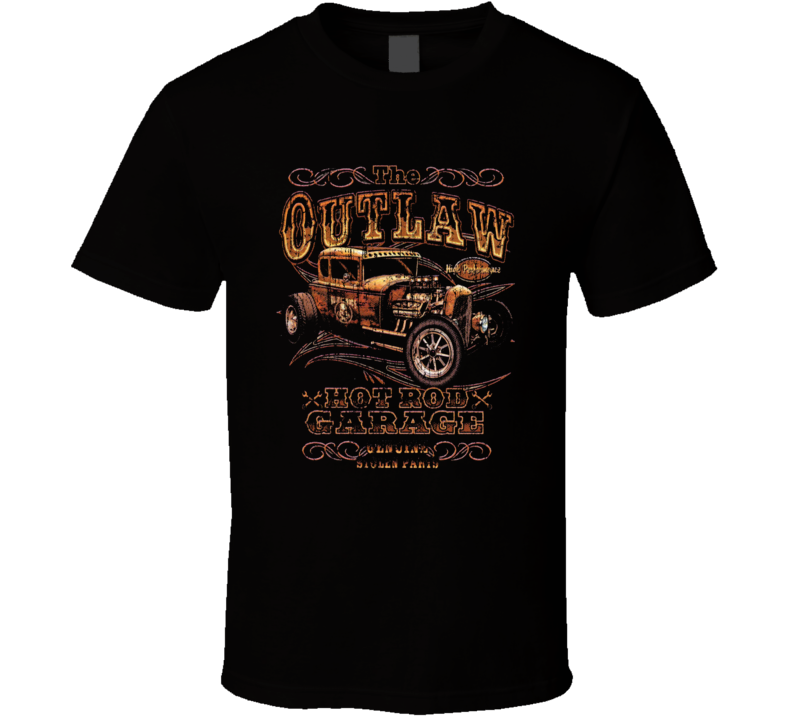 Outlaw Hot Rod Garage Vintage Worn Image T Shirt