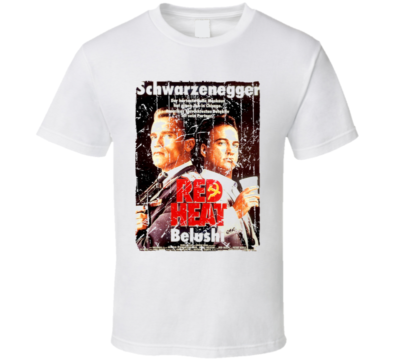 Red Heat Movie Poster Retro Aged Look T Shirt