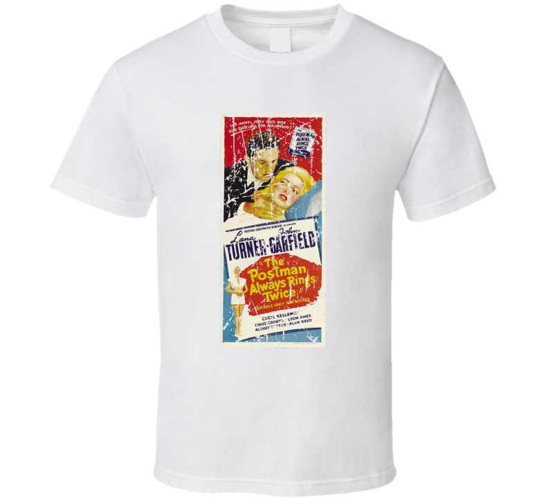 The Postman Always Rings Twice Movie Poster Retro Aged Look T Shirt