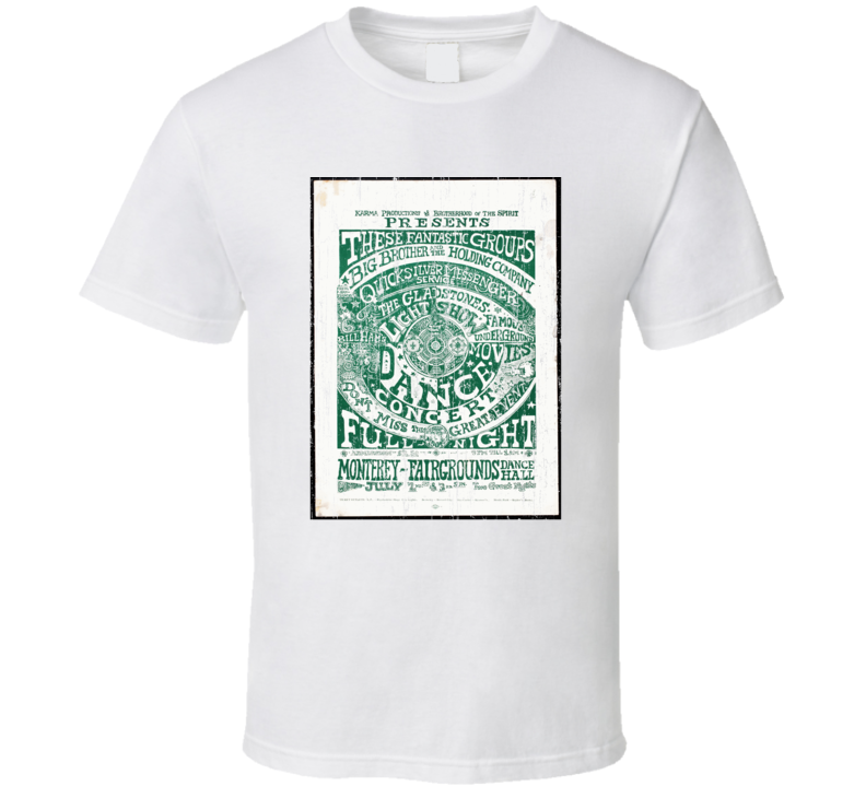 Monterey Pop Festival Concert Poster Vintage T shirt