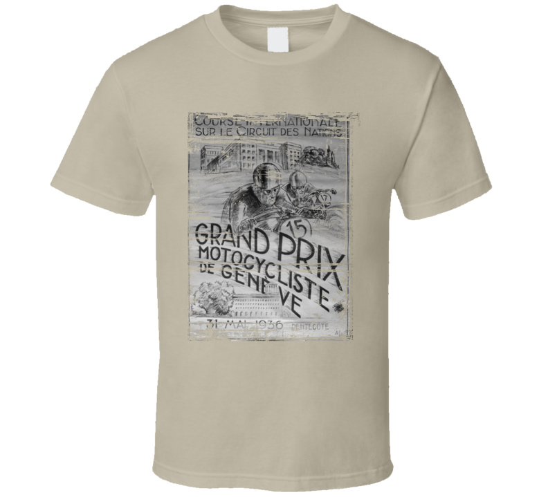 Grand Prix Racing Vintage Motorcycle Distressed T-Shirt
