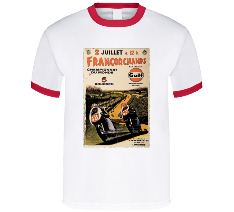 Vintage French Gulf Oil Motorcycle Racing T-Shirt