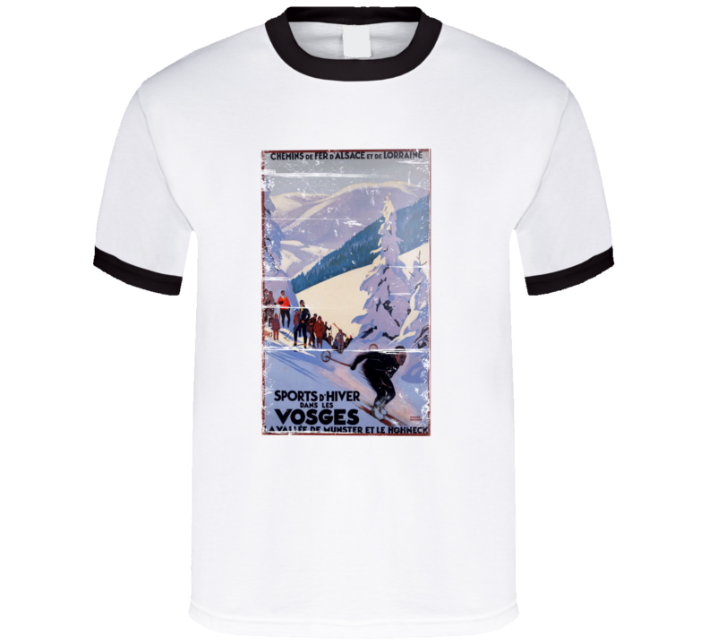 VIntage French Ski Poster distressed T-Shirt