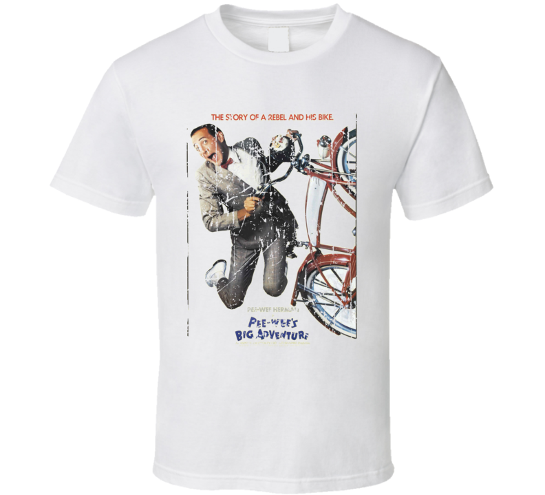 Pee-Wees Big Adventure Movie Poster Retro Aged Look T Shirt
