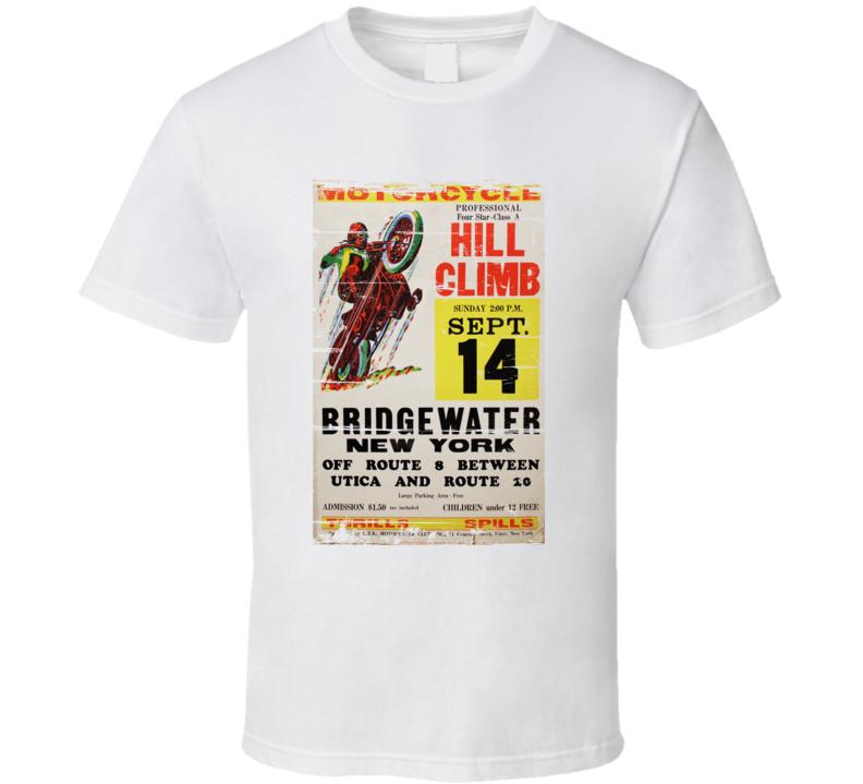 Vintage Hill Climbing Motorcycle Bridgewater Retro Aged Look T Shirt