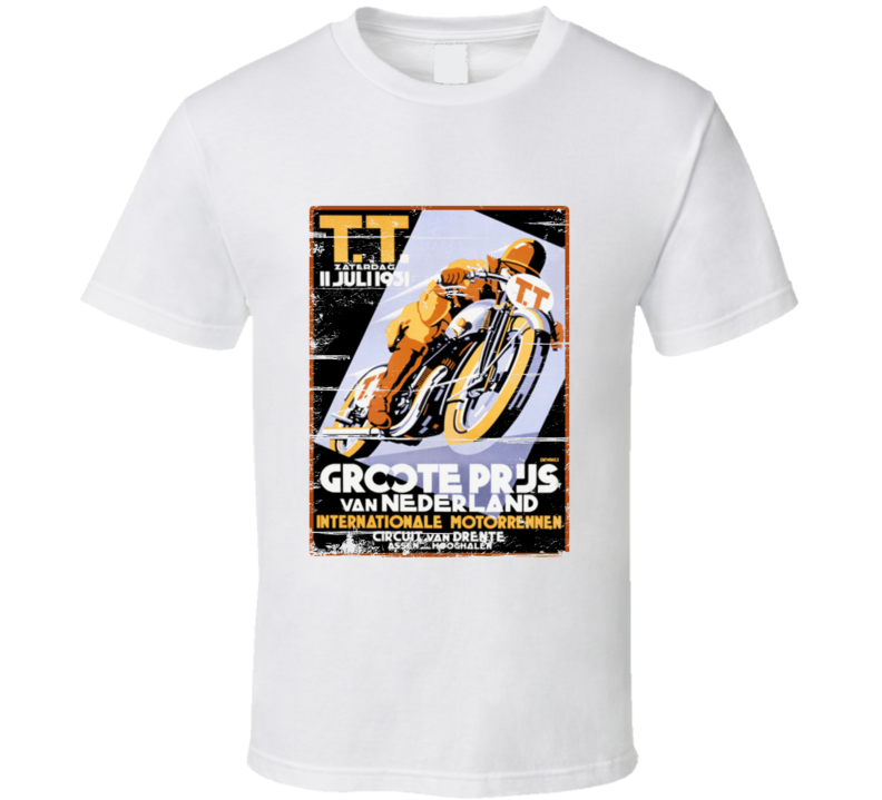 Vintage Motorcycle Racing TT Retro Aged Look T Shirt