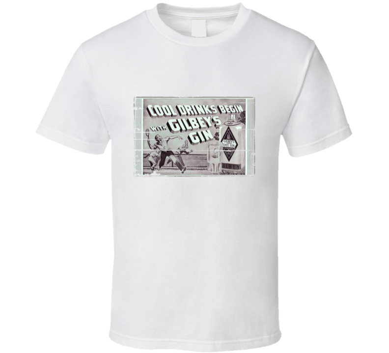 Gilbeys Gin Cool Drinks Aged Look Retro T Shirt