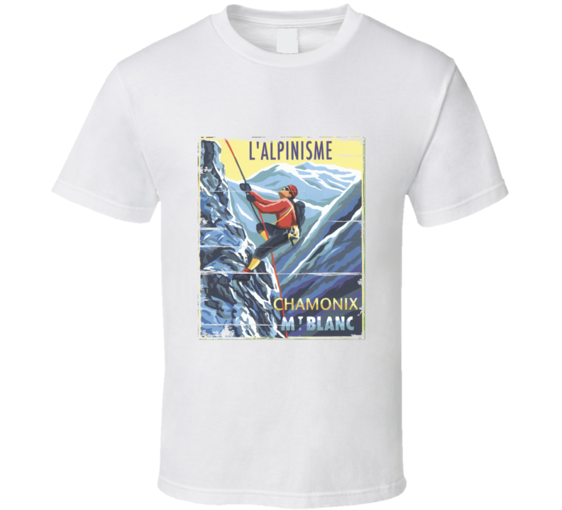 French Mountain Climbing Mountaineering Aged look T Shirt