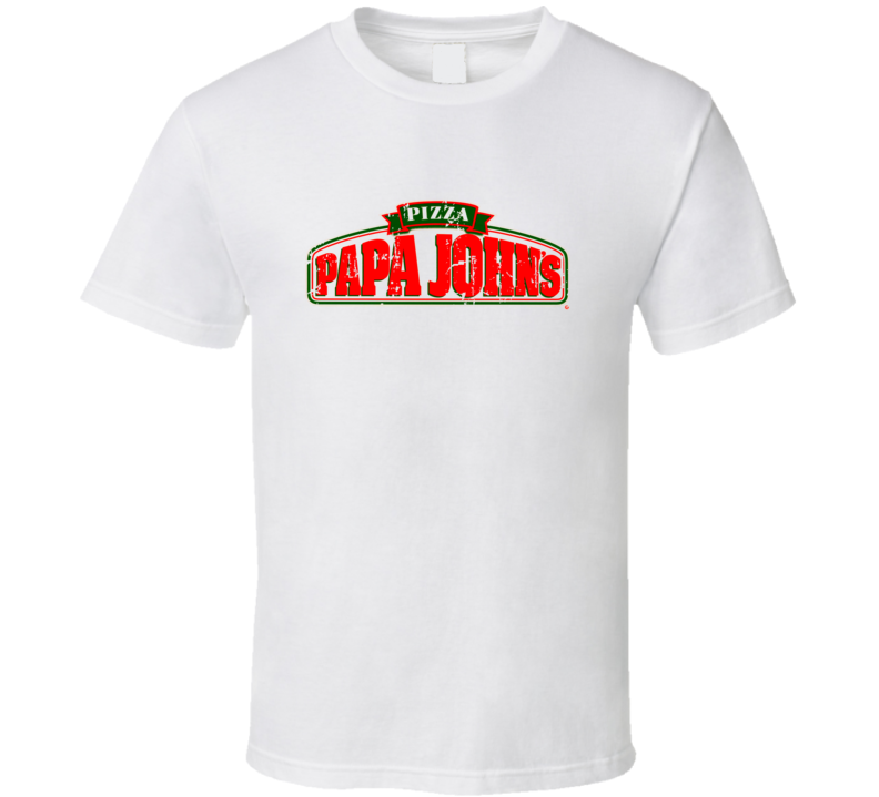 Papa Johns Pizza Fast Food Restaurant Distressed Look T Shirt