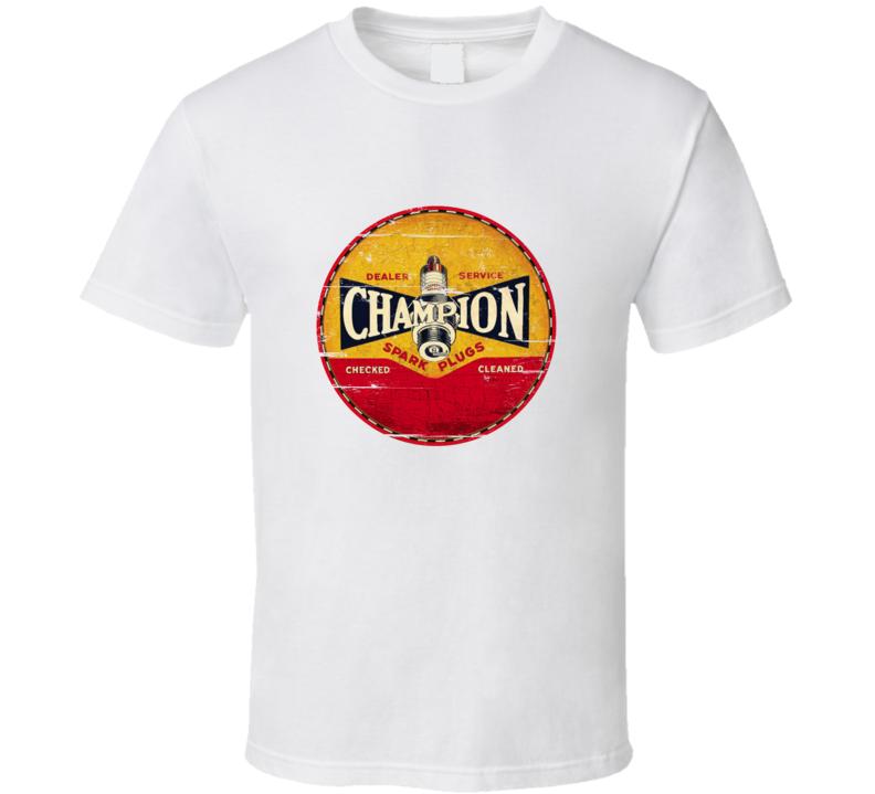 Champion Spark Plug Vintage Distressed Look T Shirt