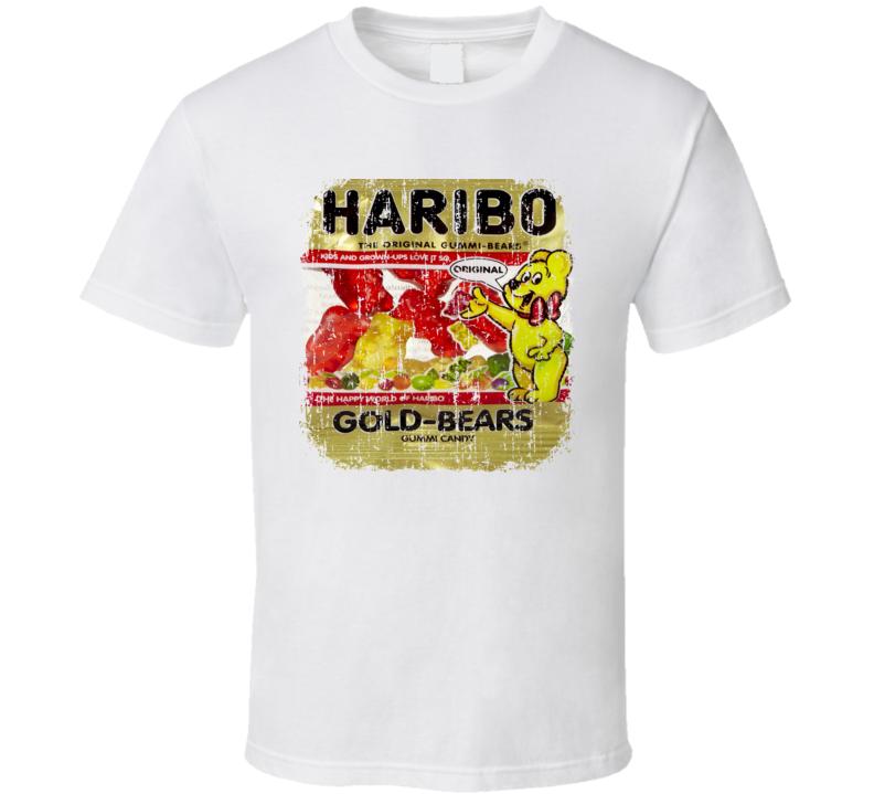 Haribo Gummi Bears Mini Chocolate Candy Lover Cool Worn Look T Shirt