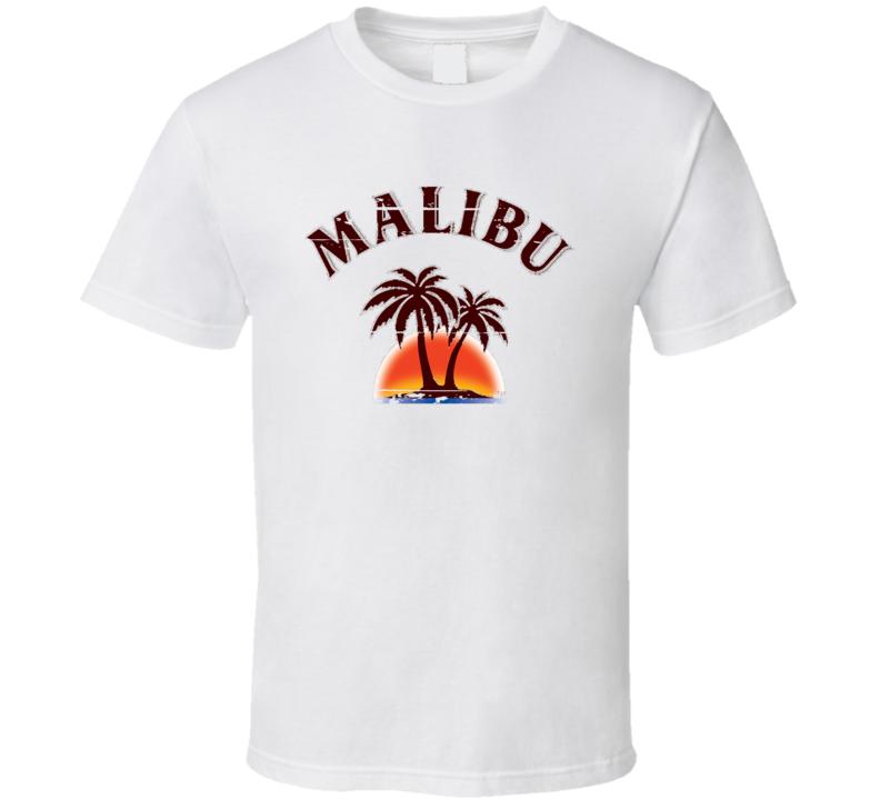 Malibu Liqueur Alcohol Drinking Gift Worn Look T Shirt