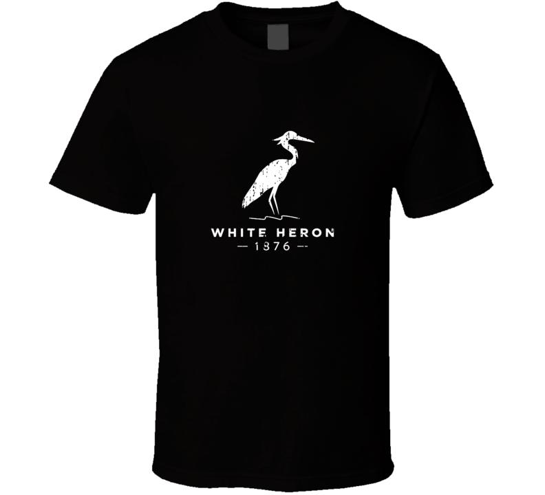 White Heron Liqueur Alcohol Drinking Gift Worn Look T Shirt