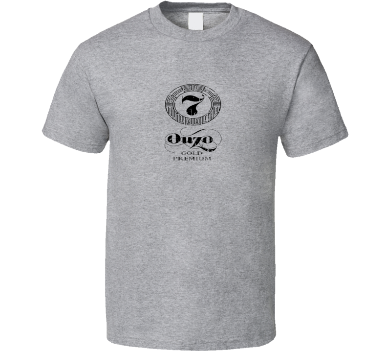 Ouzo 07 Liqueur Alcohol Drinking Gift Worn Look T Shirt
