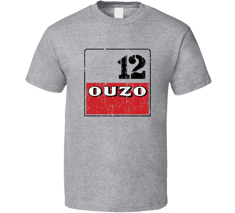 Ouzo 12 Liqueur Alcohol Drinking Gift Worn Look T Shirt