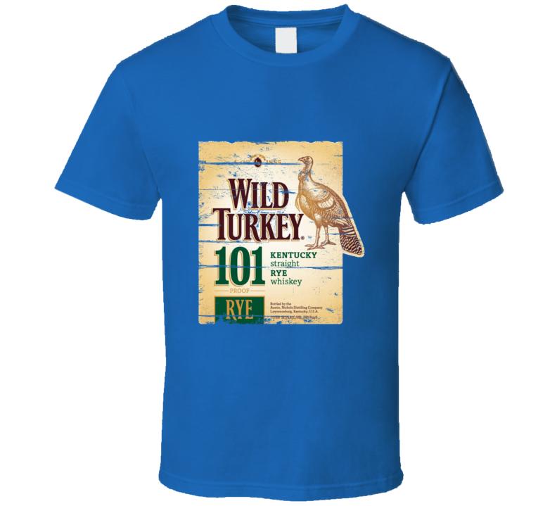 Wild Turkey 101 Proof Kentucky Rye Label Aged Look T Shirt