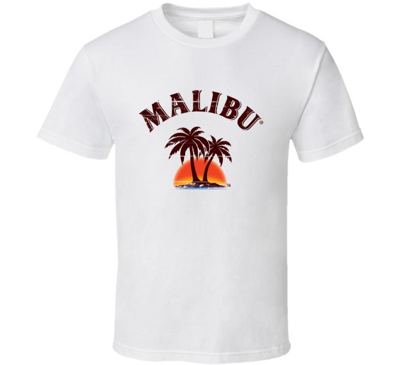 Malibu Rum Coconut Rum Aged Look Label T Shirt