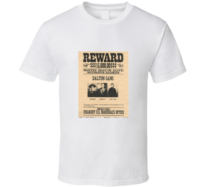 Dalton Gang Wanted Reward Poster Vintage Look T Shirt