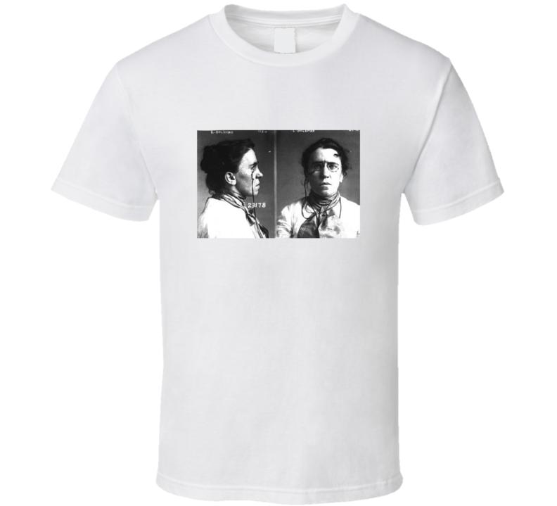 Emma Goldman Anarchist Activist Mugshot Vintage Look T Shirt