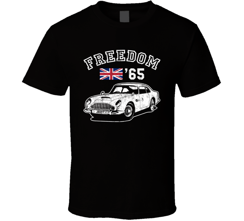 1965 Aston Martin Db5 Freedom Car Fan Worn Look T Shirt