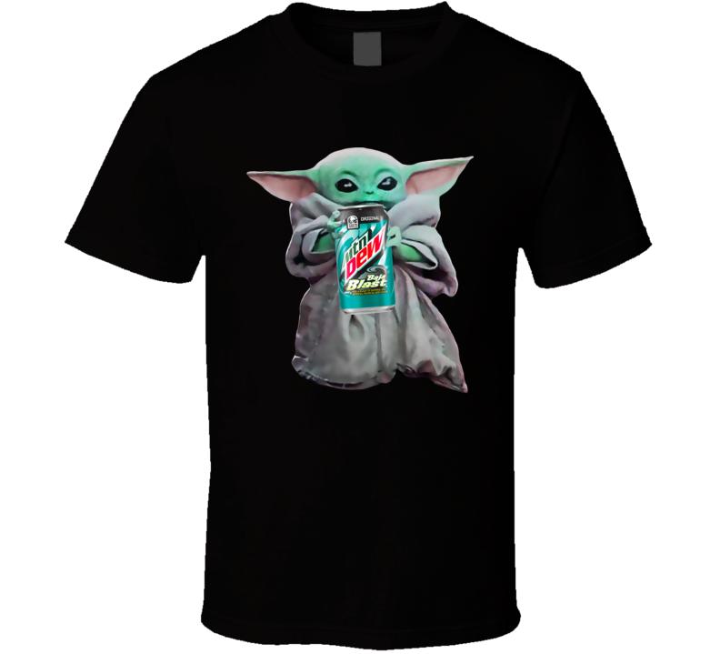 Baby Yoda The Child Mandalorian Mountain Dew Baja Blast Soda Pop Drink T Shirt