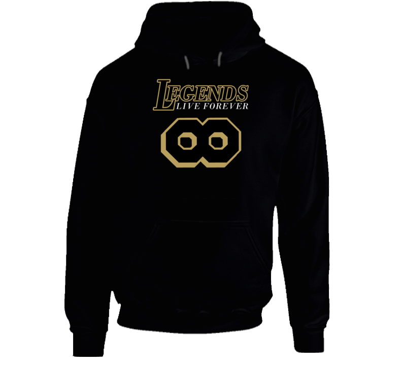 Legends Live Forever Kobe Bryant Famous Number 8 Basketball Fan Black And Gold Hoodie