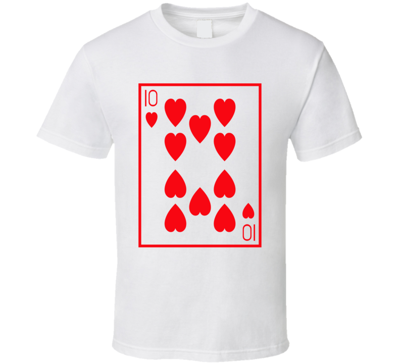 Ten Of Hearts Playing Card Funny Halloween Costume T Shirt