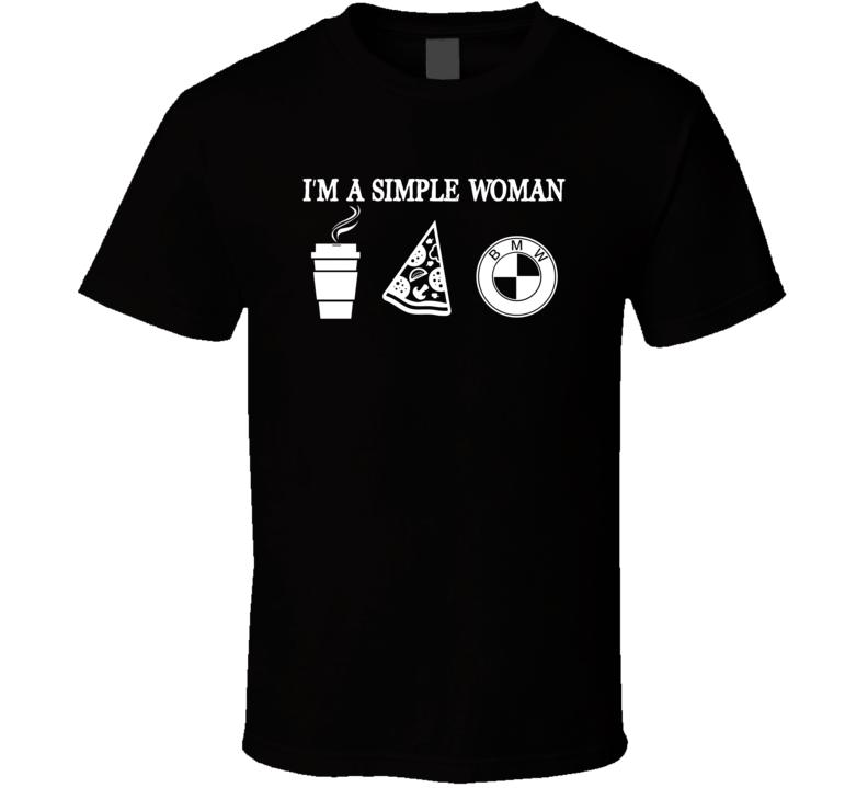 Bmw Simple Woman Coffee Pizza Car Logo Driving T Shirt