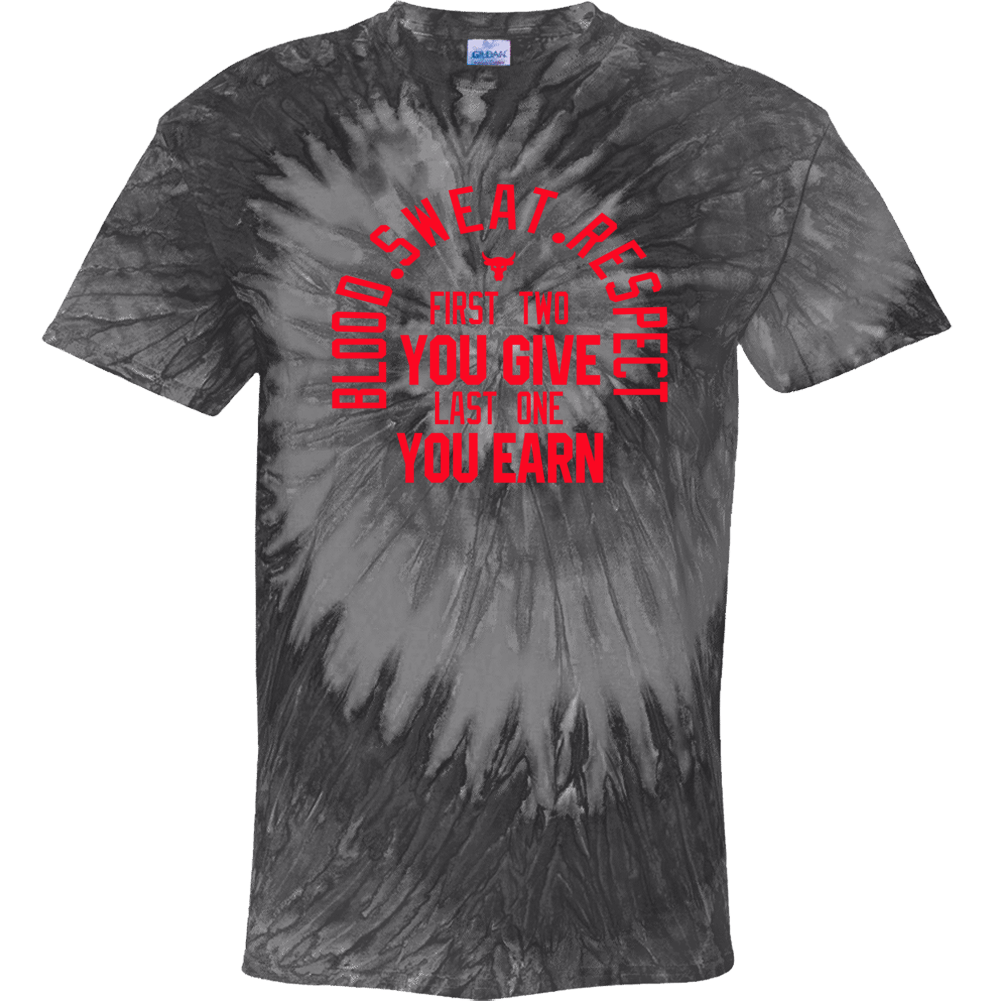 Blood Sweat Respect The Rock Fitness Fan Tie Dye