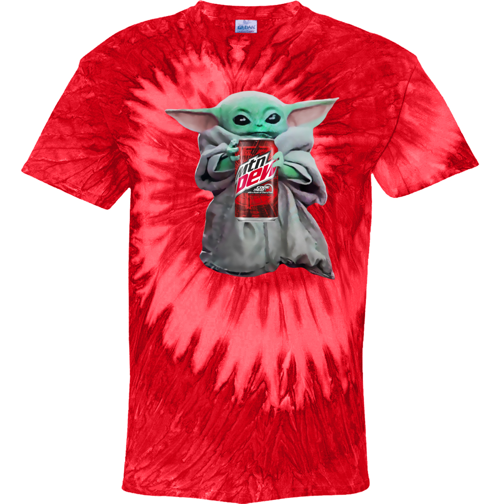 Baby Yoda The Child Mandalorian Mountain Dew Code Red Soda Pop Drink Tie Dye