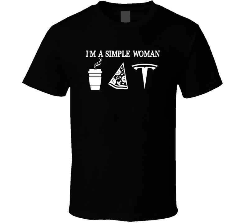 Tesla Simple Woman Coffee Pizza Car Logo Driving T Shirt