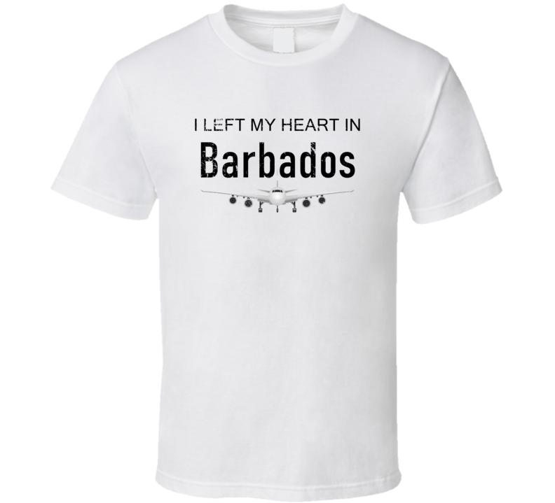 Barbados I Left My Heart In Travel Lover Wanderlust Fan Gift T Shirt