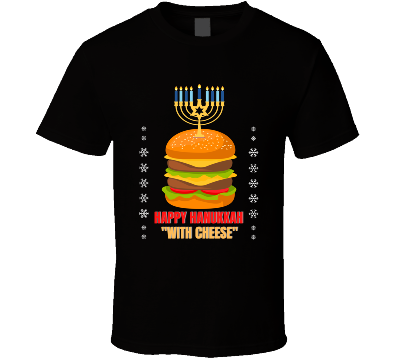 Happy Hanukkah With Cheese Pulp Travolta Jackson Royale Scene Capital Holidays Commercial Reference Classic Movie Reunite Fan Gift T Shirt