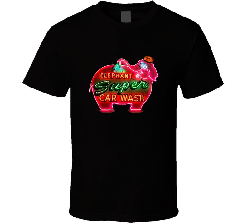 Elephant Super Car Wash Logo Famous Car Wash Seattle Washington Usa Cool Aged Look T Shirt