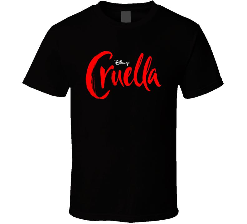 Cruella Devil Emma Stone 2021 Disney Movie Poster Logo De Vil 101 Dalmations Prequel Evil Spots T Shirt