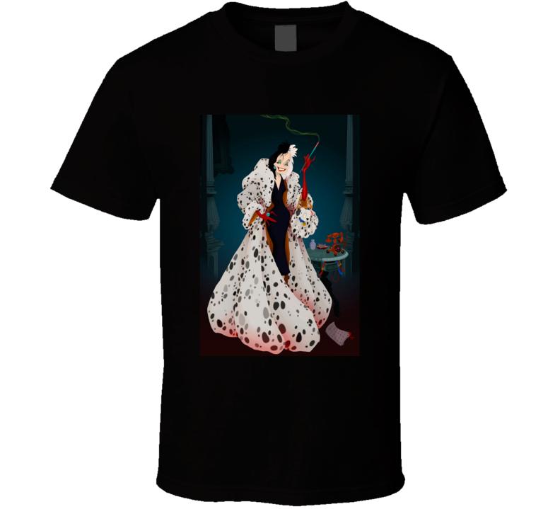 Cruella Devil Disney Movie Cartoon Animated De Vil 101 Dalmations Prequel Evil Spotted Gown T Shirt