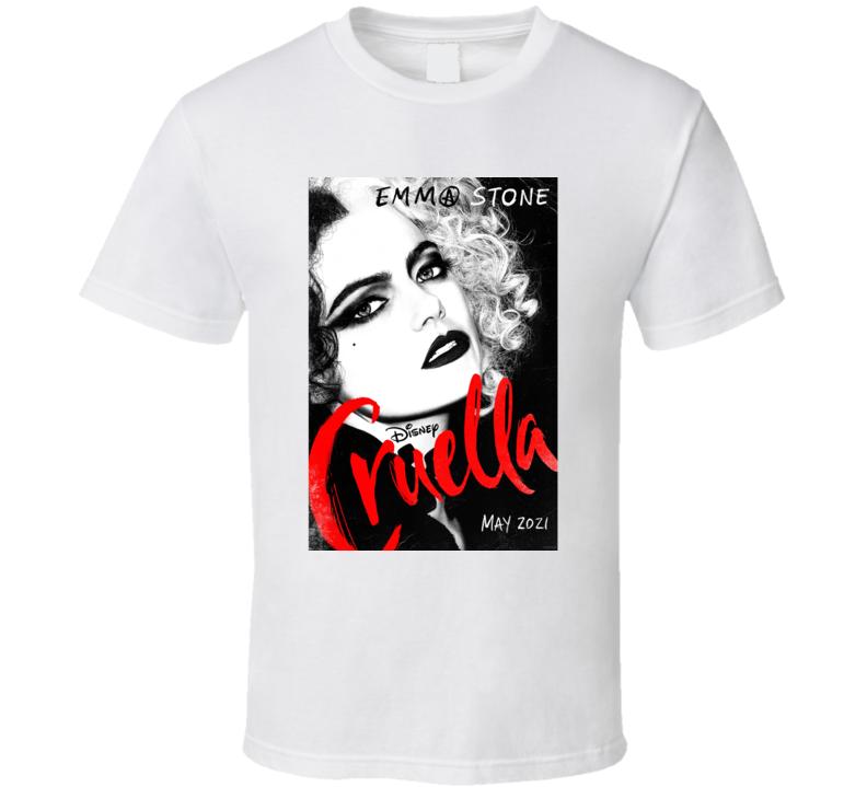 Cruella Devil 2021 Disney Movie Poster Emma Stone Villian De Vil 101 Dalmations Prequel Evil T Shirt